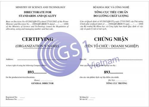 Giấy chứng nhận đăng ký mã vạch GS1